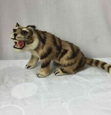 Vintage Realistic Collectible Animal Figurine Tiger Glass Inset Eyes w/ Real Fur