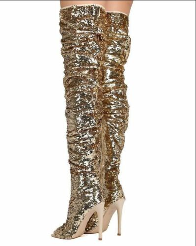 Women Robbin Sequins Thigh High Slouchy Peep Toe Stiletto Over Knee Boots Sbox14