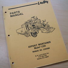 Leeboy Model 1200 Asphalt Maintainer Parts Catalog Manual Book Spare List