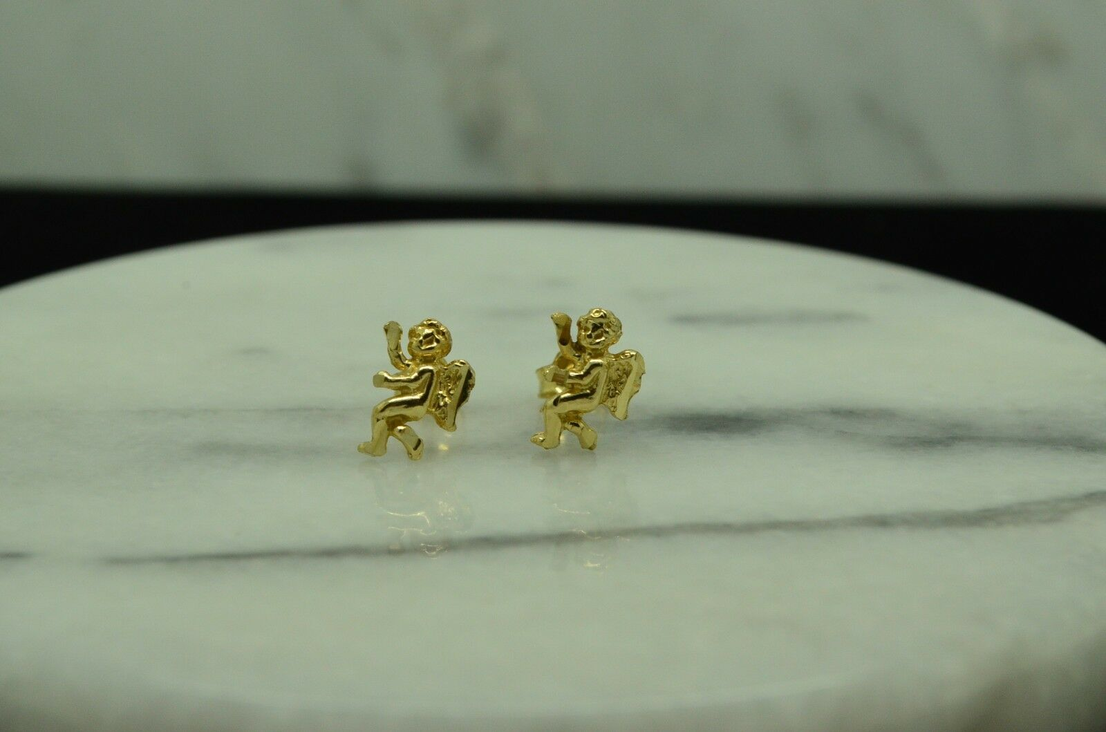 14K YELLOW gold ANGEL BABY CHERUBS STUD EARRINGS