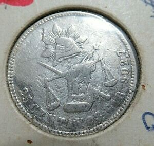 1885-Mexico-Silver-Antique-Coin-25-Cent-Centavo-Low-Mint-Semi-Key