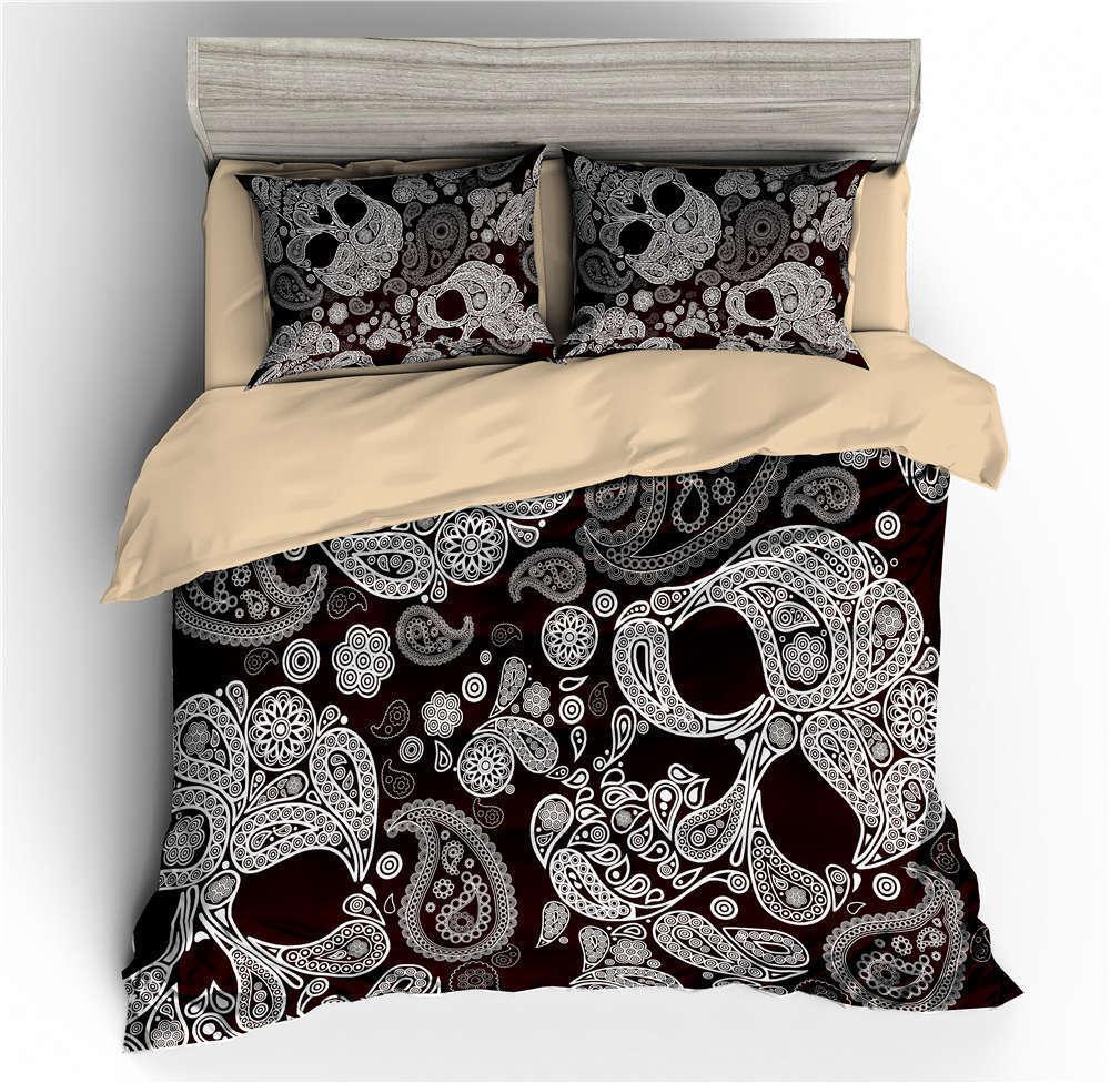 White Pattern Skeletons 3D Digital Print Bedding Duvet Quilt Cover Pillowcase