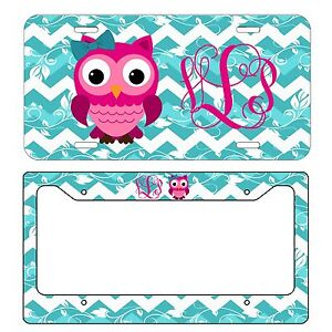 MONOGRAMMED-LICENSE-PLATE-amp-FRAME-SET-HOT-PINK-OWL-WITH-BOW-BLUE-CHEVRON