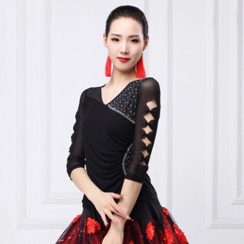 NEW Women Top for Latin salsa cha cha tango Ballroom Dance#GG215 5 Colors