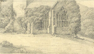 Excellent Late 19th Century Graphite Drawing - View of a Church