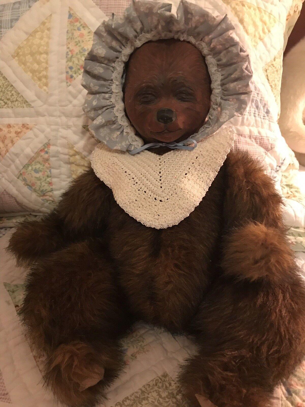 Handmade stuffed bear bear With Porcelain Head