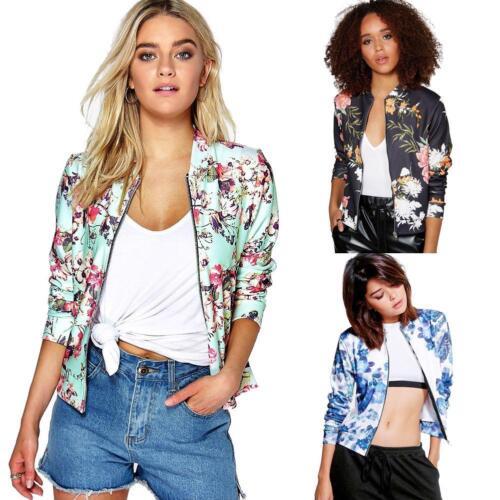 Women/'s Bomber Jacket Classic Zipper Style Biker Floral Coat Slim Fit Outerwear