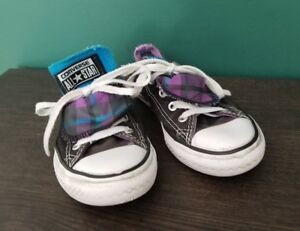 Size 13 Chuck Taylor All Star Converse Double Tongue Low Top Black Blue Tribal Girls' Shoes