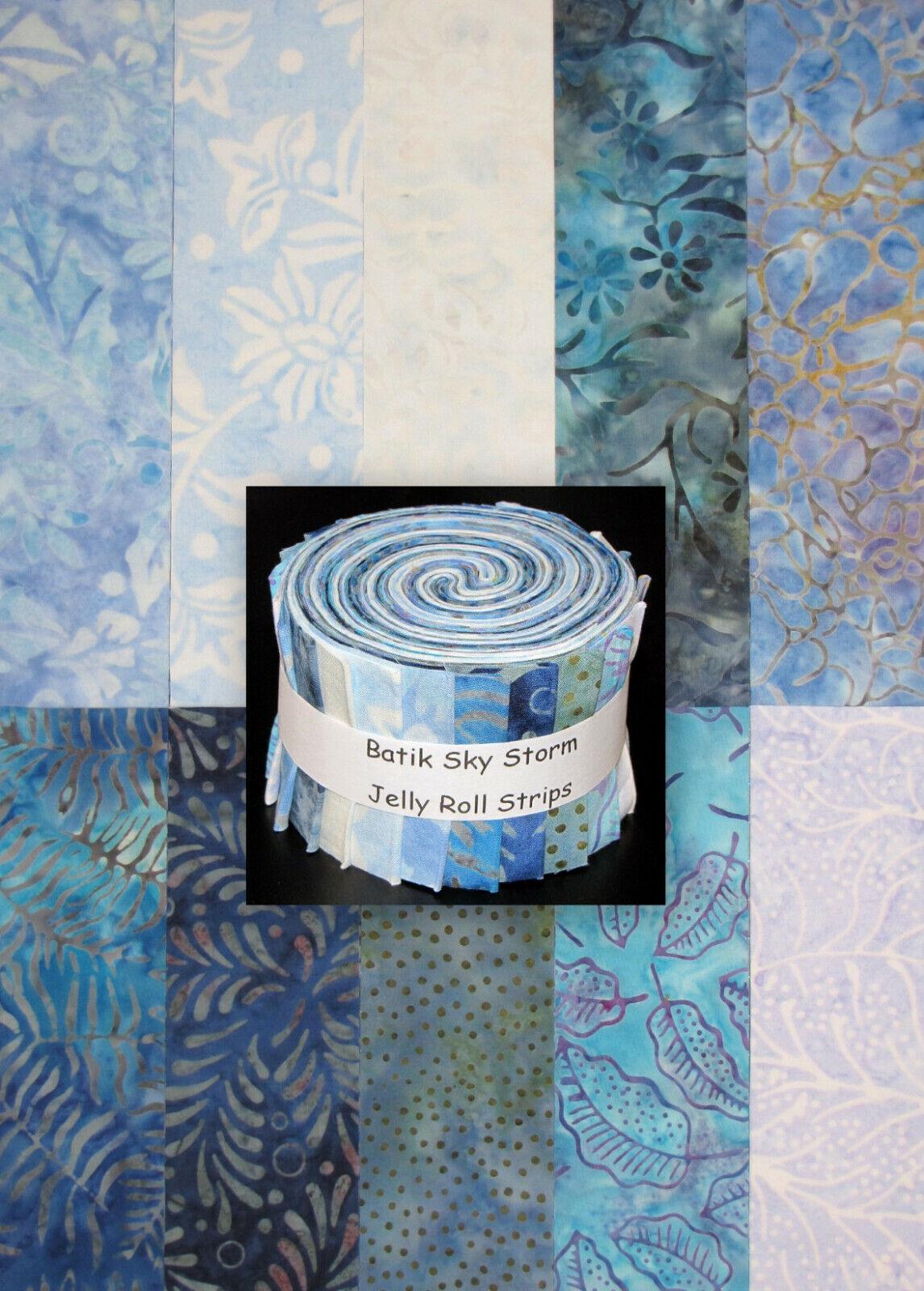 "Jelly Roll Batik Sky Storm Blue Purple Aqua Cotton Fabric 20 Strips 2.5/""X44/"""