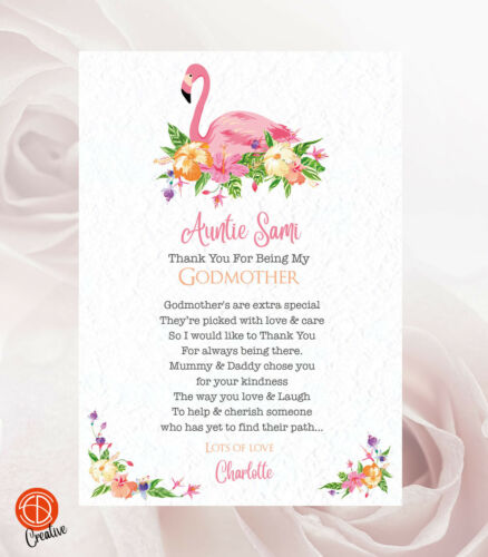 Godfather Godmother Thank You For Being My Godparents Christening Card Gift