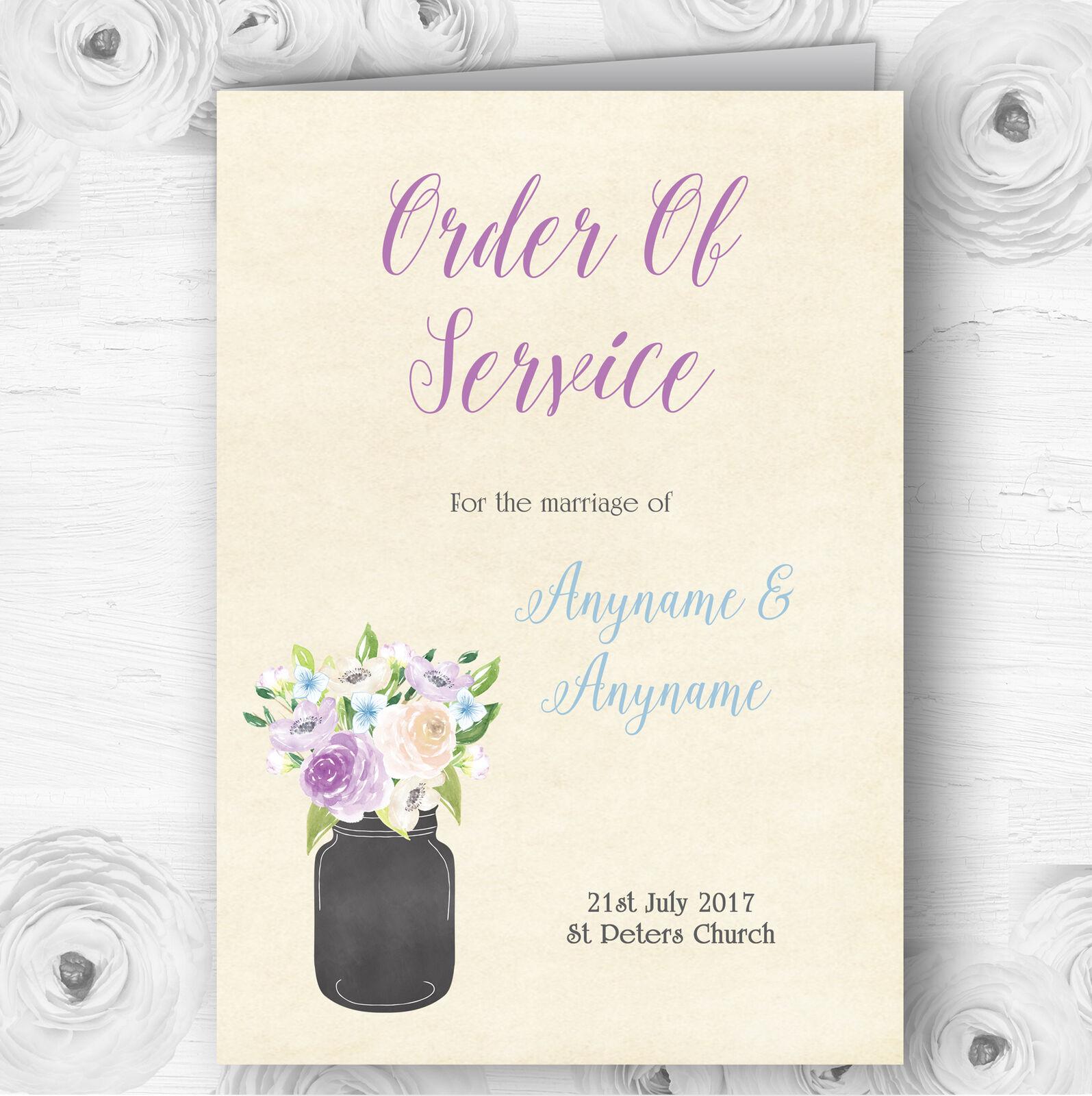 Lilac & Blau Flower Vase Vintage Wedding Double Sided Cover Order Of Service