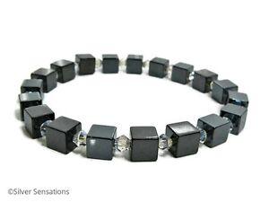 Hematite-Cube-Beads-Unisex-Bracelet-With-Sparkly-Swarovski-Crystals