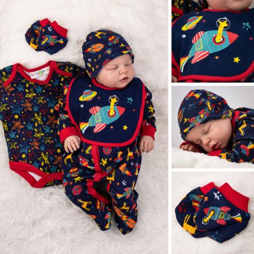 Baby Jungen 5 Teile Set Strampler Body Latz Mütze Handschuhe navy Weltall