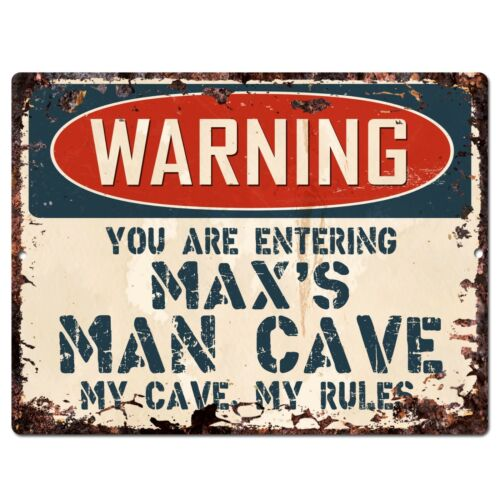 PP3370 WARNING ENTERING MAX/'S MAN CAVE Chic Sign Home Decor Funny Gift