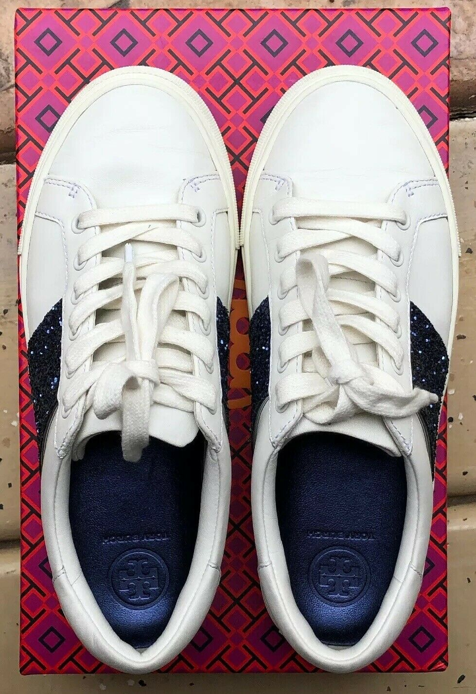 Tory Burch Carter Glitter Lace-up Sneakers White Navy 6.5
