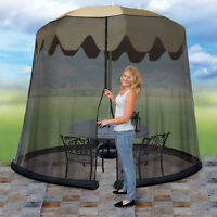 Patio Umbrella Drape Mesh Bug Screen - Fits 7.5 Foot Umbrella - Zip Close on sale