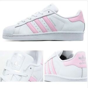 4542ad27a61 ADIDAS SUPERSTAR ORIGINALS WHITE   BABY PINK BRAND NEW IN BOX BA7683 ...
