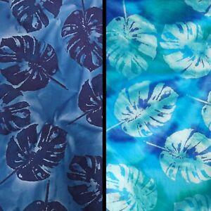 Turquoise John Louden Rainforest Leaves Blue Batik Cotton Fabric Lilly Pads