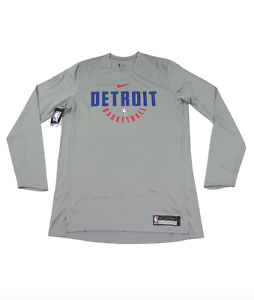 New-Nike-NBA-Authentics-Detroit-Pistons-Team-Issued-Long-Sleeve-Practice-Shirt