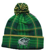 Reebok Kt98z Nhl Hockey Pom & Plaid Knit Hat Beanie/toque- Columbus Blue Jackets
