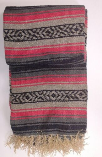 Mexican Blanket Falsa Yoga mat thow southwest twin bed size Gray /& Pink XL