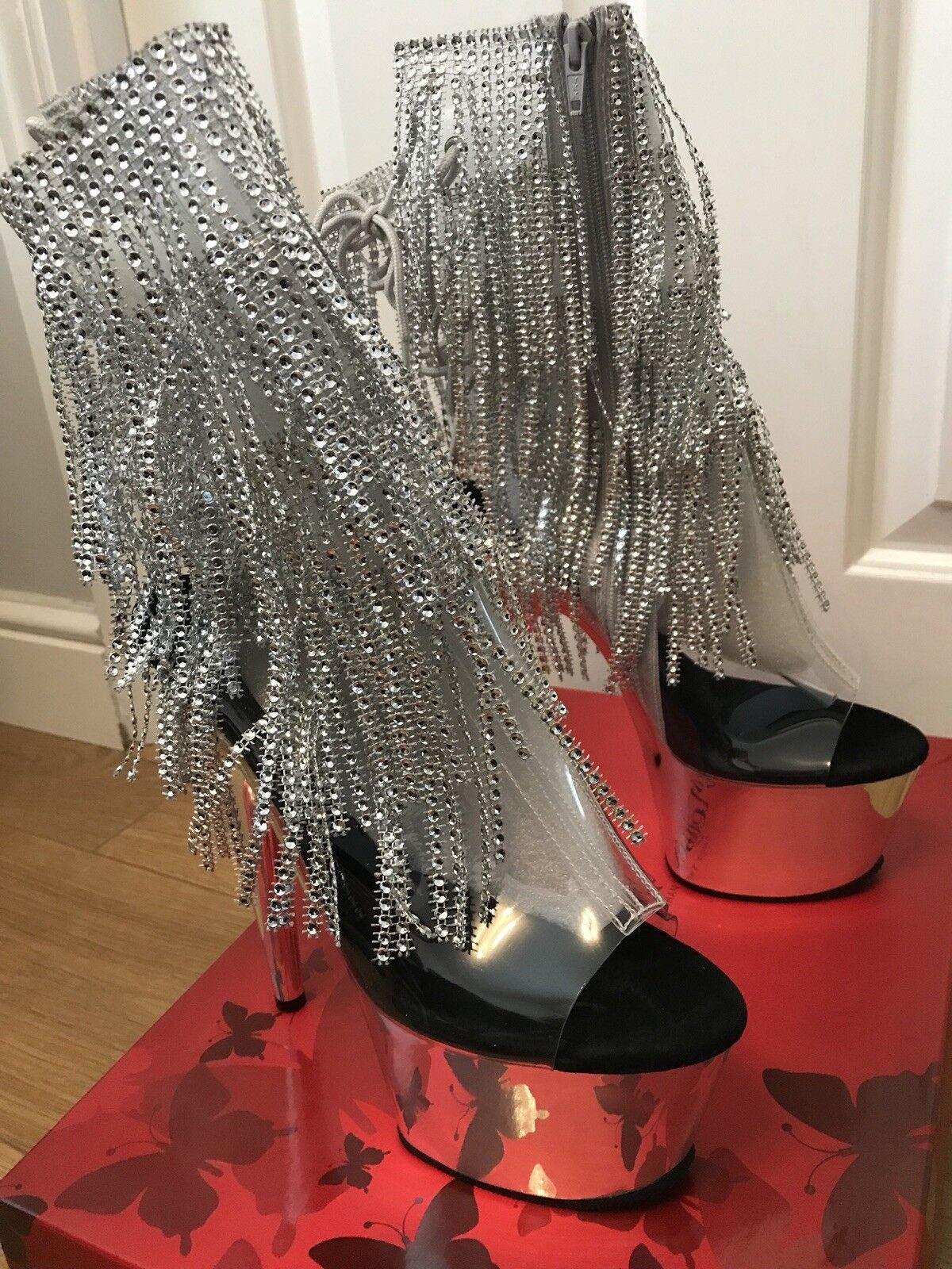 Pleaser Adore 1017RSF Sexy Silver Rhinestone Ankle New Stiefel UK Größe 7 New Ankle in Box 08386d