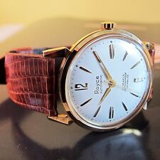 NEW OLD STOCK Vintage ROYCE SWISS MADE AUTOMATIC Mens wristwatch 1960s-MINT