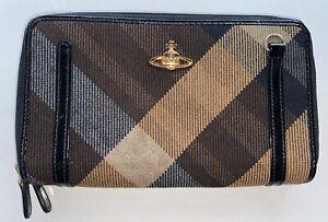 Vivienne-Westwood-Brown-Beige-Tartan-Wool-Check-Zip-Round-Purse-Wallet-Clutch