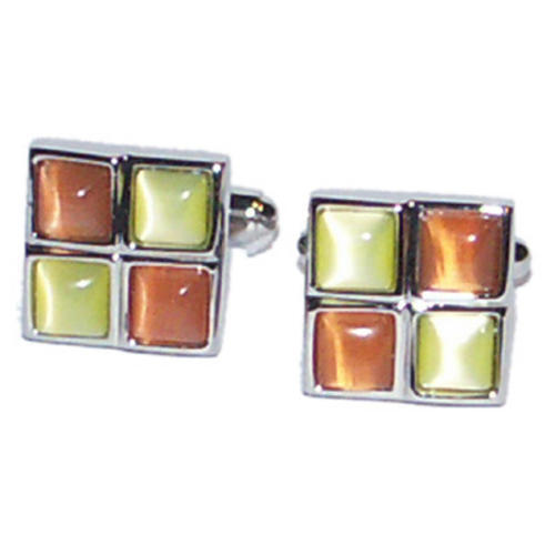 Orange /& Yellow Squares Formal Cufflinks /& Gift Pouch Smart Formal Present