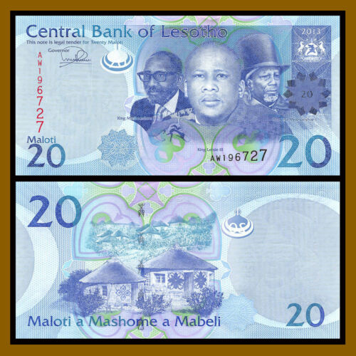 5 Pcs Full Set 2013-2015 P-21-25 Unc Lesotho 10 20 50 100 200 Maloti