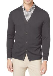Club-Room-Mens-Sweater-Gray-Large-L-Knit-V-Neck-Button-Front-Cardigan-49-404
