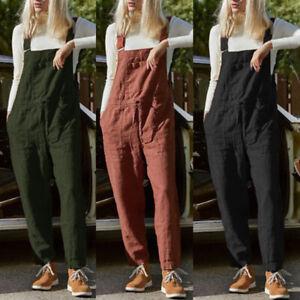 ZANZEA-Femme-Combinaison-100-coton-Poche-Sans-Manche-Loose-Loisir-Pantalon-Plus
