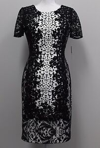 5e6d077e542 Antonio Melani Wallace Black White Lace Short Sleeve Dress Size 2 6 ...