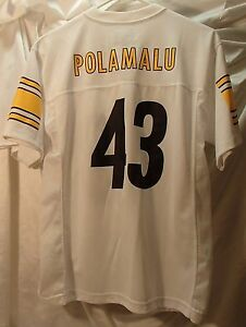 separation shoes 8cec4 2a9fb Pittsburgh Steelers Troy Polamalu White NFL Football Jersey ...