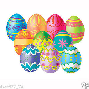 10 EASTER Spring Party Decorations Paper Mini Colorful EASTER EGG CUTOUTS 4 1/2""