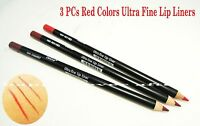 3 Pcs Italia Red Colors Lip Liners - Hot Red, Rich Red & Cabaret - Long Pencil
