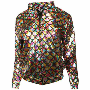 Womens Jackets Ladies Mermaid Fish Scale Metallic Stretch Festival Coat New S-XL
