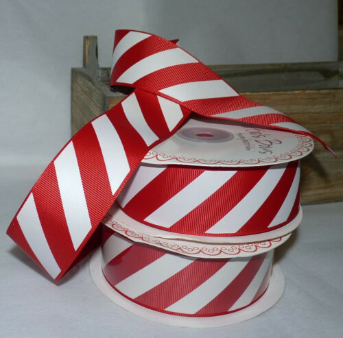 38mm #CRAFT//GIFT WRAP 1M RED /& WHITE CANDY CANE GROSGRAIN  RIBBON