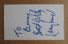 LARRY LUND SIGNED AUTOGRAPH 3X5 INDEX CARD WHA HOCKEY HALL OF FAME HOUSTON AEROS
