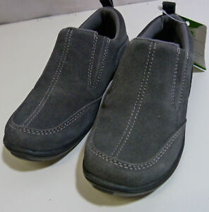 NEW-BOYS-GIRLS-KIDS-LANDS-END-ALL-WEATHER-GREY-SLIP-ON-SUEDE-LEATHER-SHOES
