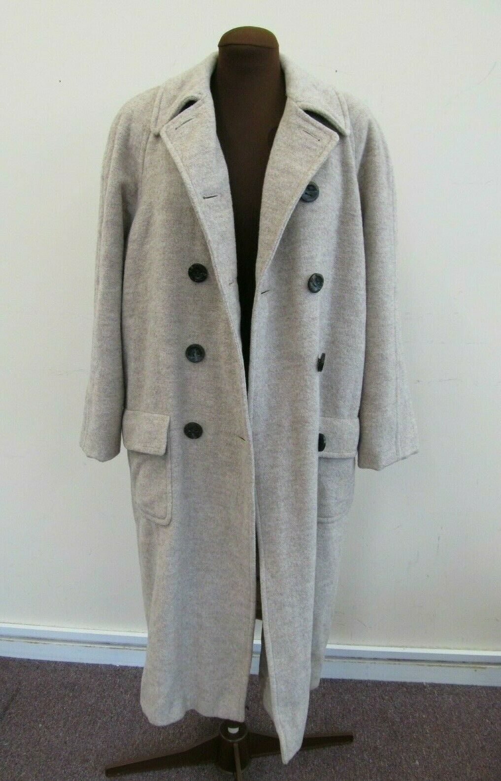 JAEGER LONDON Vintage Wool Double Breasted Long Coat 44  Chest Labeled as Small