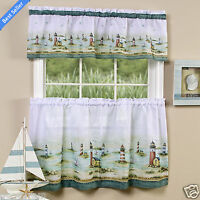 Hamptons Tier & Valance Kitchen Curtain Set - Assorted Sizes