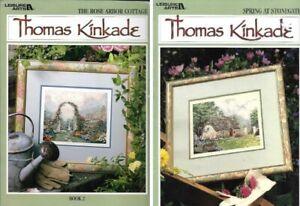 Thomas-Kinkade-Spring-at-Stonegate-amp-Rose-Arbor-Cottage-for-Cross-Stitch-Bk-2-amp-3