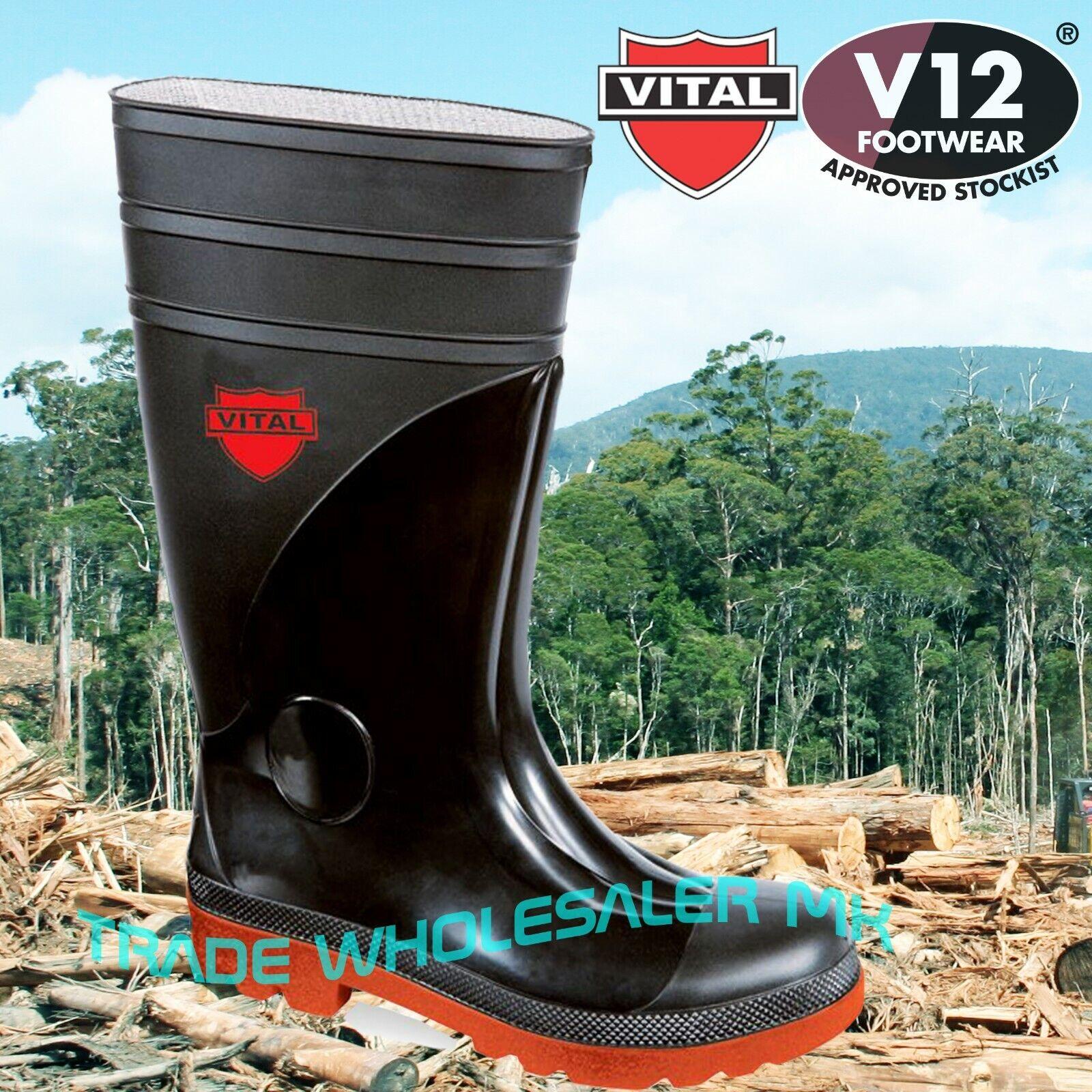 Wellington botas de seguridad de los agricultores Talla 14 Acero puntera de goma