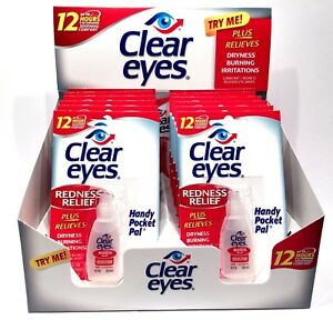 12 Pack CLEAR EYES Drops Redness Red Eye Relief 0.2 oz Sterile Bulk Wholesale 300742541282