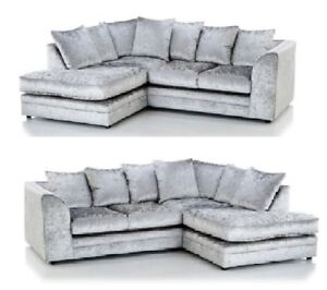 Details about *SALE* CRUSHED VELVET SILVER ORIGINAL GLITZ CHICAGO CORNER  SOFA 32 SEATER SWIVEL