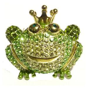 Grenouille Couronne broche soiree cadeau humour prince grenouille couronne cristal vert