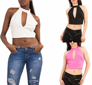 7ae464db05592 Women Crop top Ladies High Neck Sexy Choker Bardot Summer Blouse Uk ...