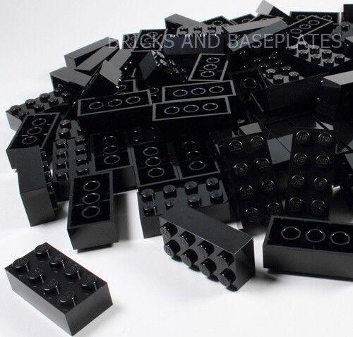 LEGO Mattoni 200 X Nero 2x4 PIN-Set da  Nuovo di Zecca inviati in un sacchetto trasparente sigillati  marca