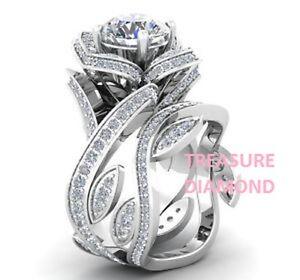 1-85-Ct-Blanco-Vvs1-Rosa-Redondo-Diamante-Anillo-de-compromiso-de-boda-de-oro-blanco-14kt